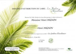Diplôme Jardins d'Excellence décerné à Henri Mignon Paysagiste