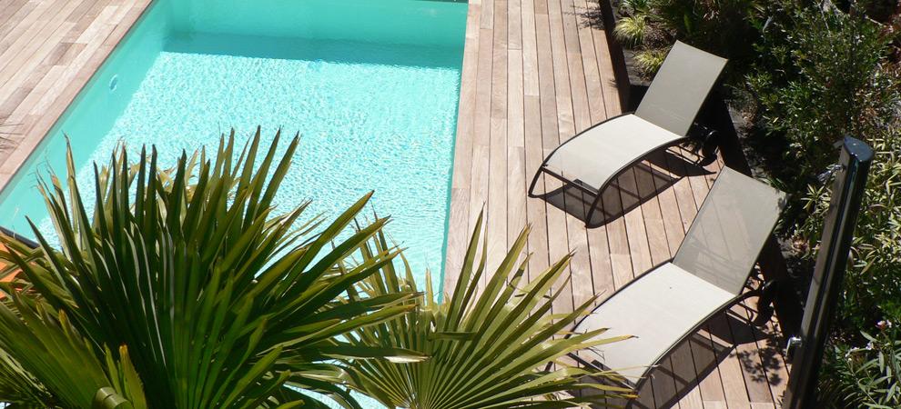 Plage bois ipé piscine