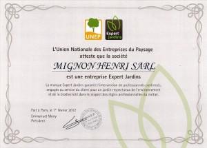 certificat décerné à Henri Mignon Paysagiste à Lorient reconnaissant l'appartenance au label Expert Jardin